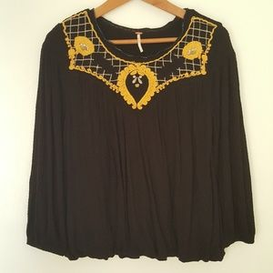 Free People Boho Embroidered Blouse